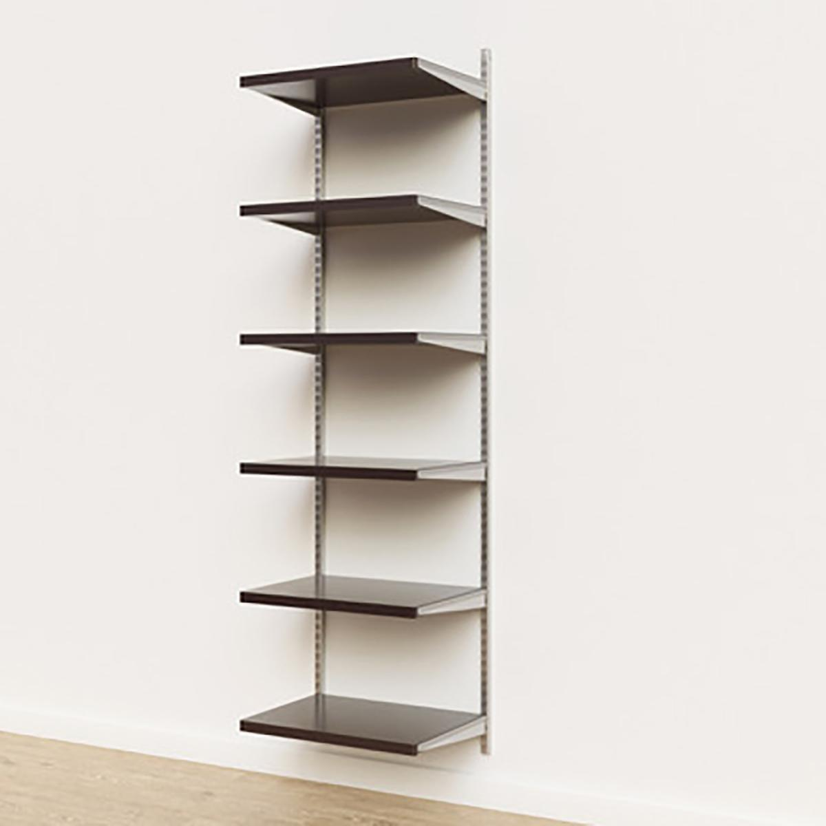 Elfa Décor 2' Platinum & Walnut Basic Shelving Units for Anywhere