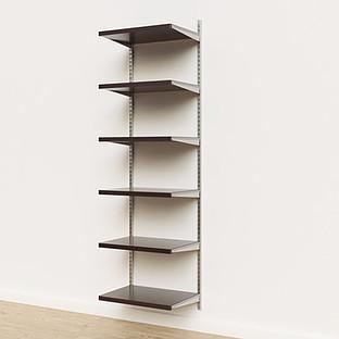 Elfa Décor 2' Platinum & Walnut Basic Shelving Units for Anywhere