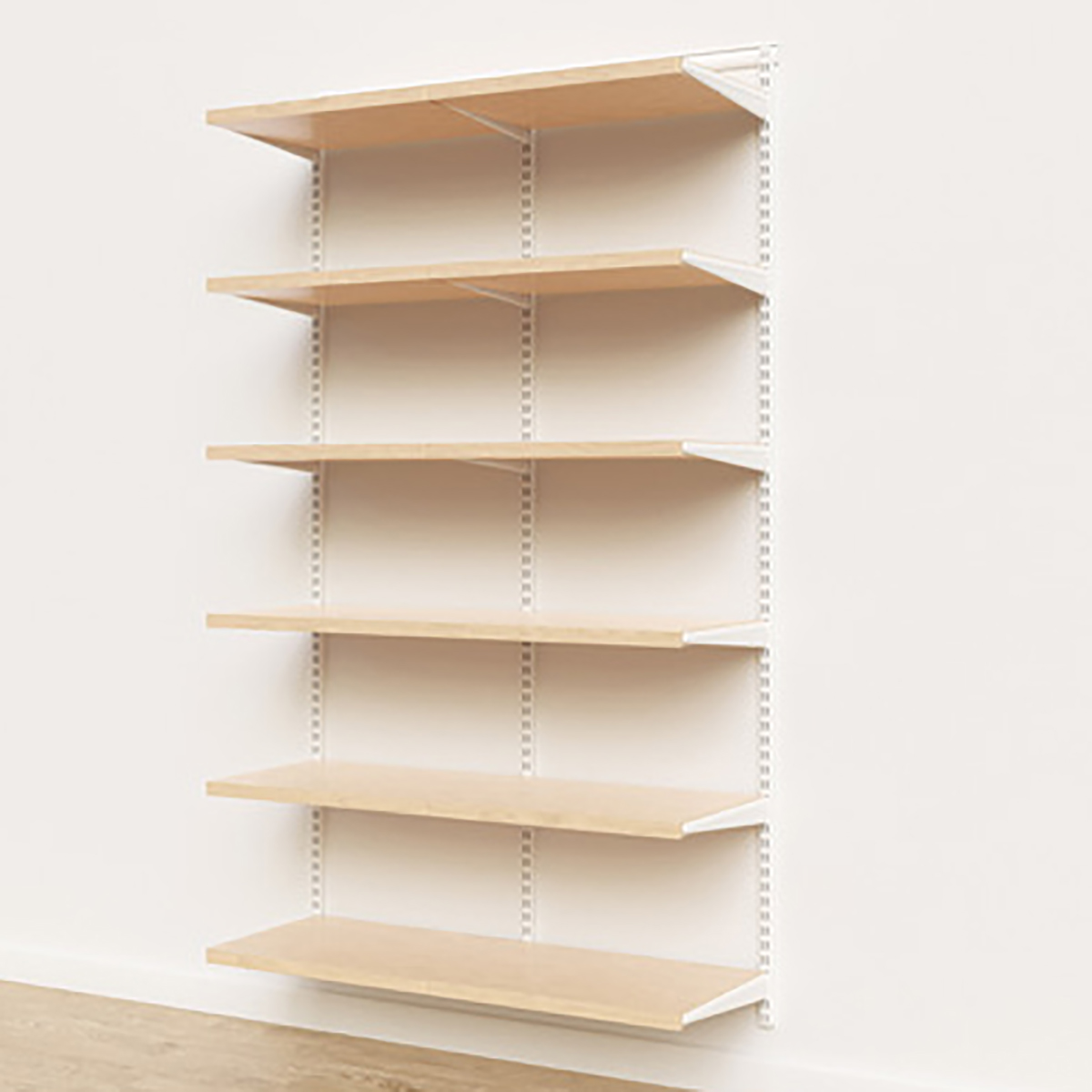 Elfa Décor 4' White & Birch Basic Shelving Units for Anywhere