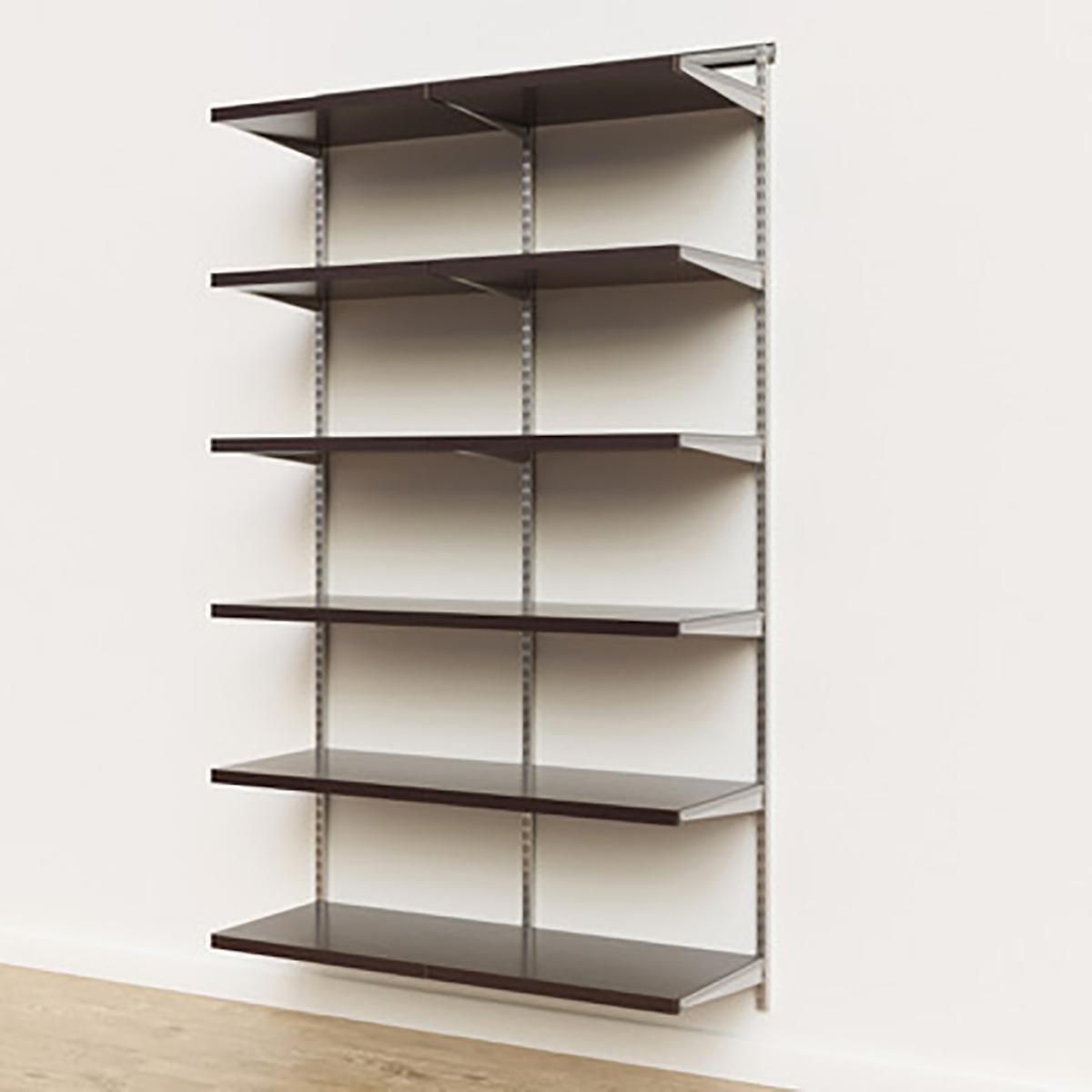 Elfa Décor 4' Platinum & Walnut Basic Shelving Units for Anywhere