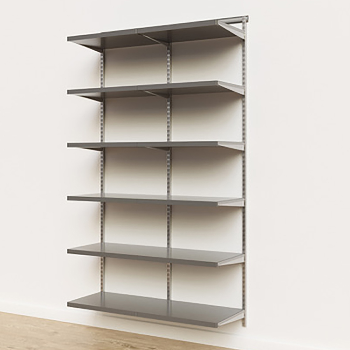 Elfa Décor 4' Platinum & Grey Basic Shelving Units for Anywhere