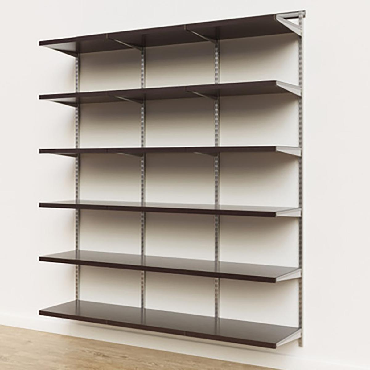 Elfa Décor 6' Platinum & Walnut Basic Shelving Units for Anywhere