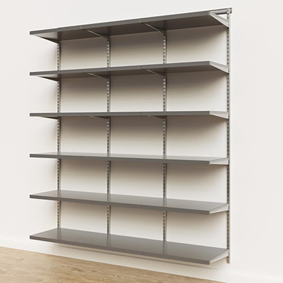 Elfa Décor 6' Platinum & Grey Basic Shelving Units for Anywhere