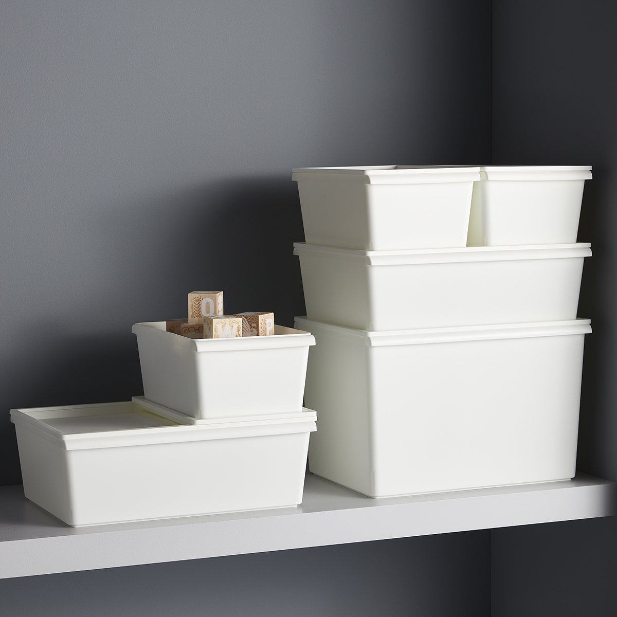 White Plastic Stacking Bins with Lids