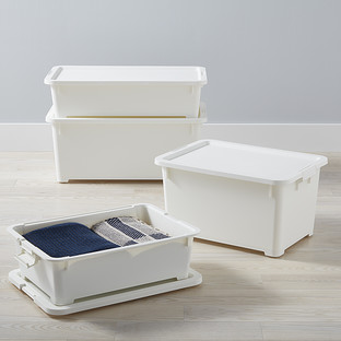 White Rolling Plastic Storage Totes