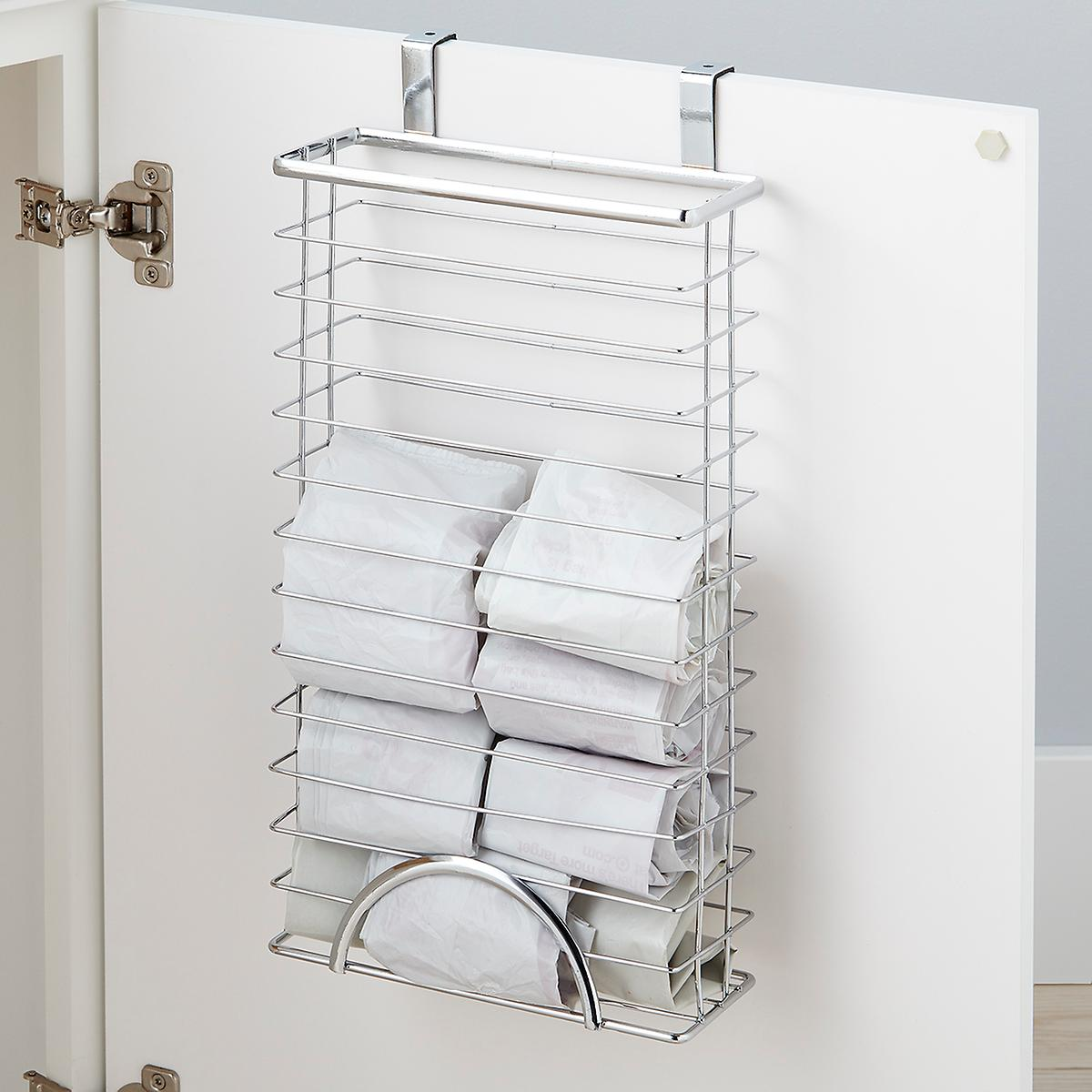 Chrome Over the Cabinet Grocery Bag Holder