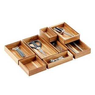 Stackable Acacia Drawer Organizers