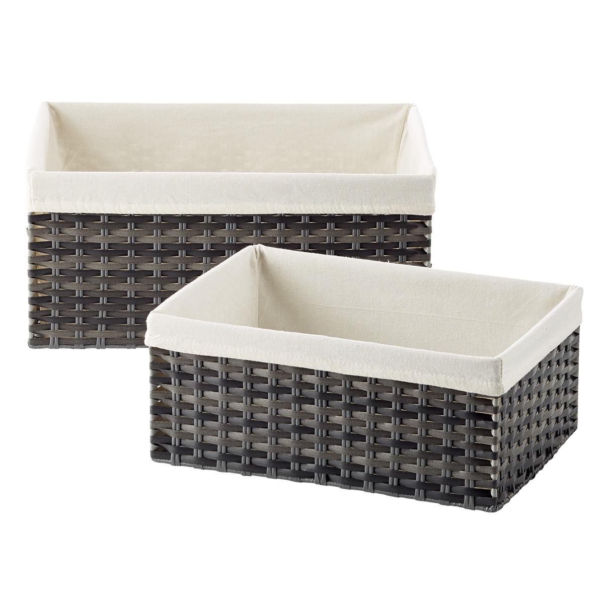 Smoke Montauk Woven Rectangular Storage Bins
