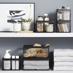 Design Ideas Black Wire Grid Storage Bins