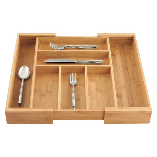 Expandable Bamboo Silverware Tray