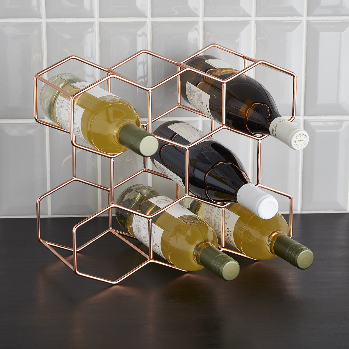 8-Bottle Rose Gold Wine Rack
