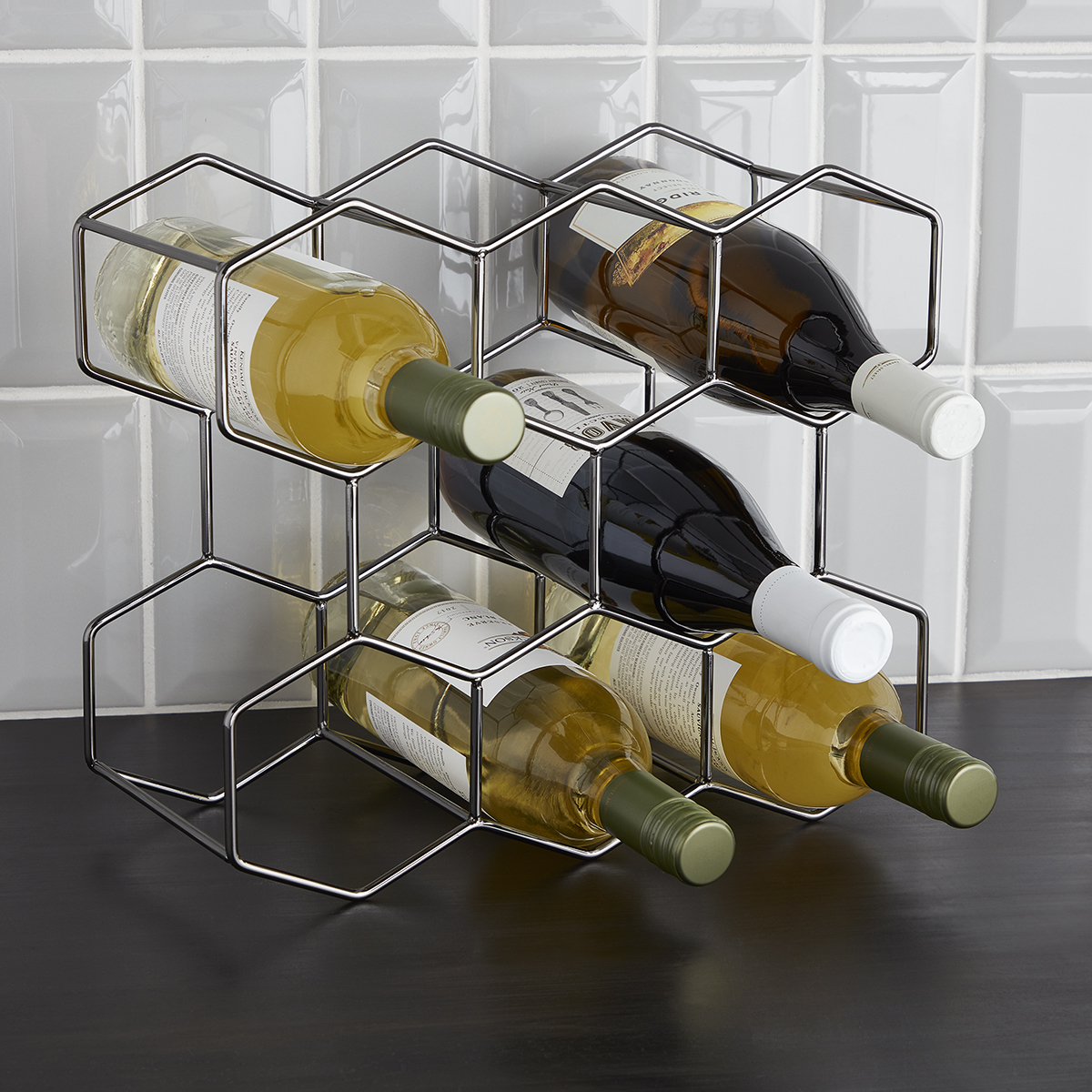 8-Bottle Black Wine Rack