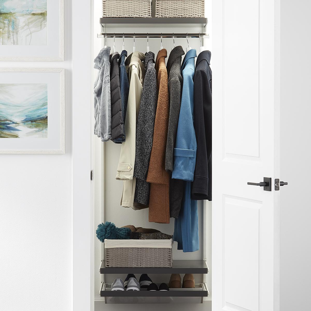 Elfa Décor 2' Grey & White Entry Closet