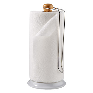 Bamboo & Silver Paper Towel Holder