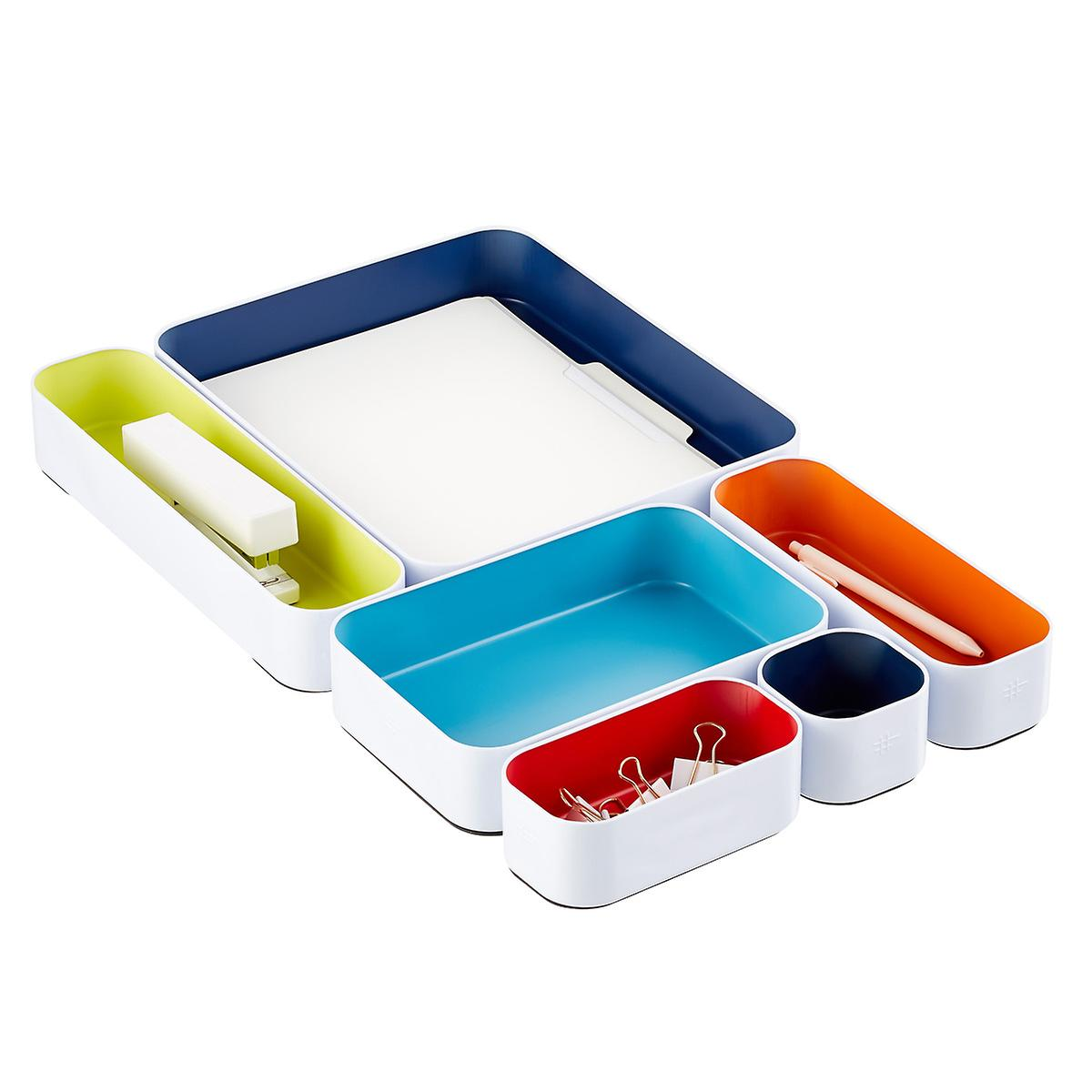 Three by Three Deep Paper-Size Metal Drawer Organizers Set of 6