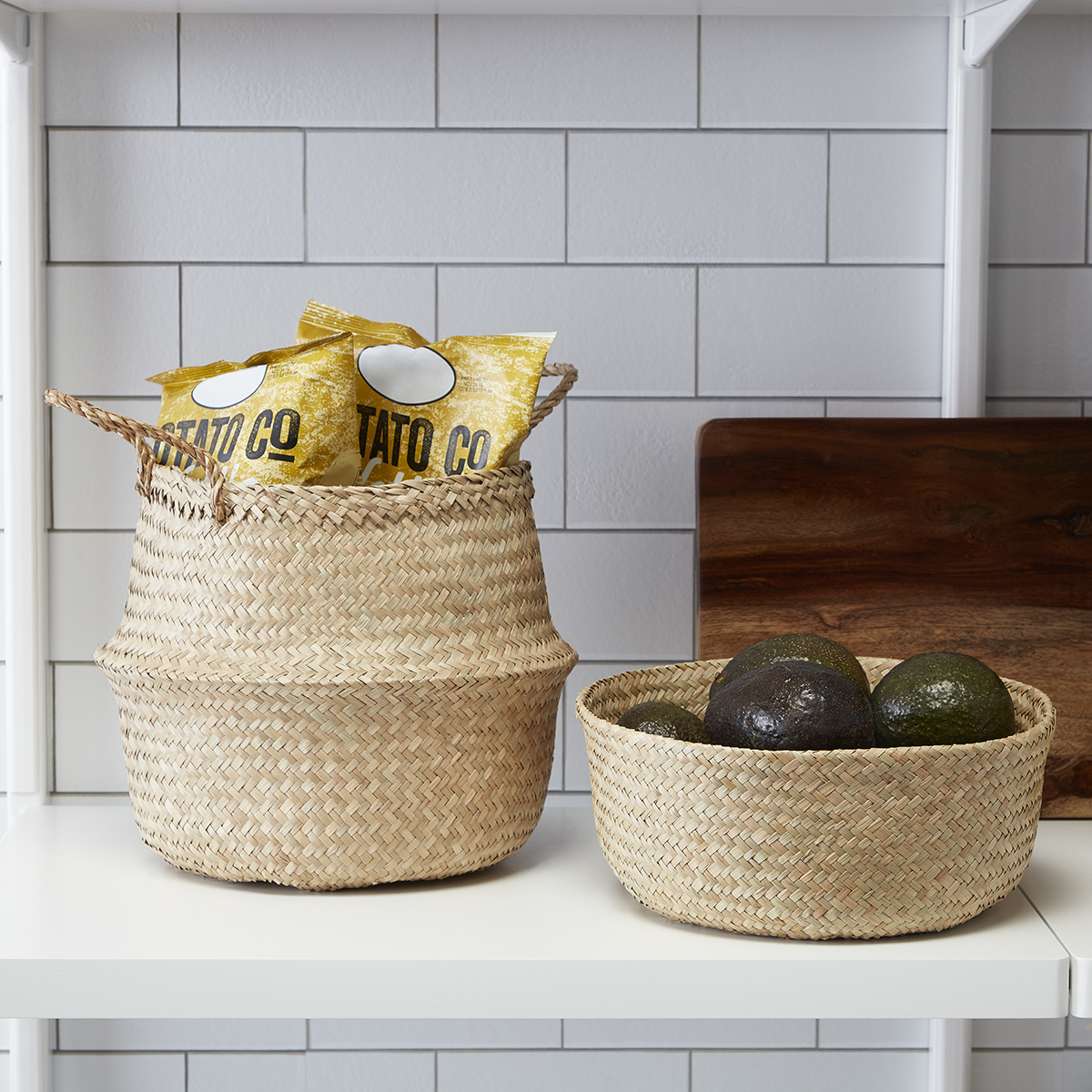 Small Natural Seagrass Belly Basket