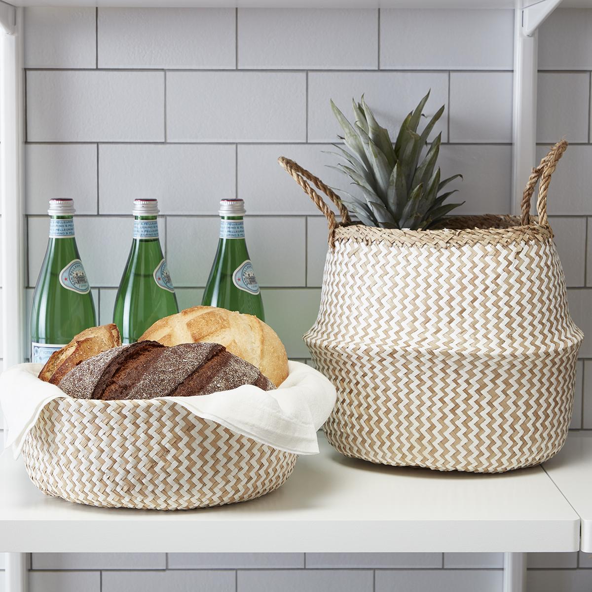 Medium Chevron Seagrass Belly Basket