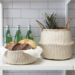 Medium Chevron Seagrass Belly Basket