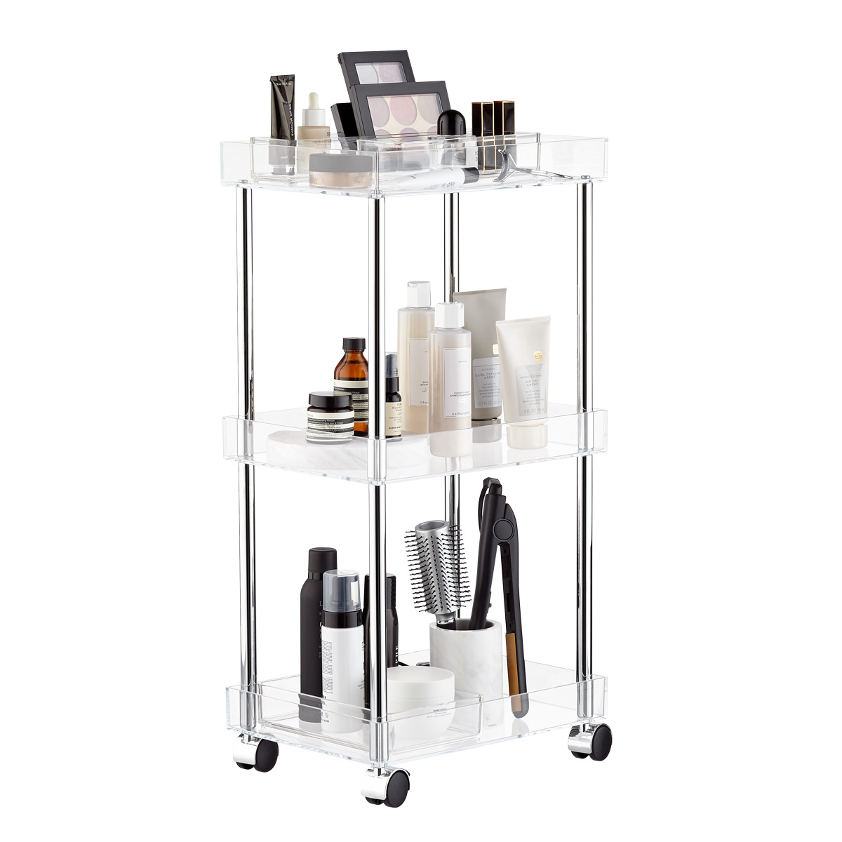 3-Tier Acrylic Rolling Cart