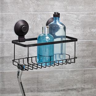 iDesign Everett Matte Black Push-Lock Suction Shower Basket