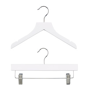 Kid's White Wood Shirt Hangers
