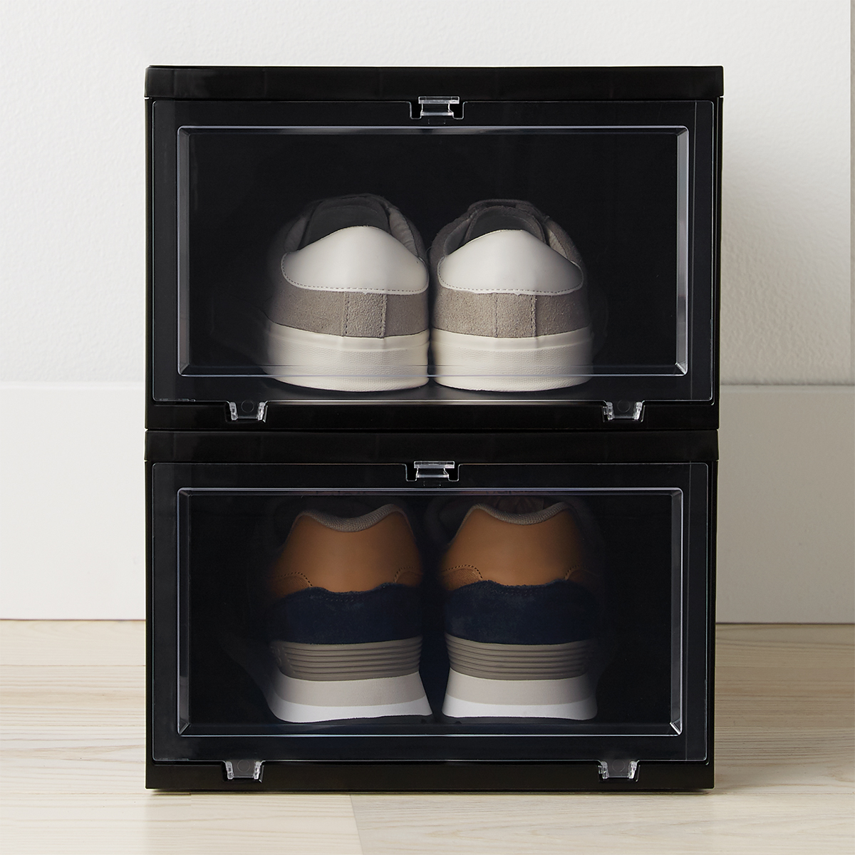 Large Black Drop-Front Shoe Box