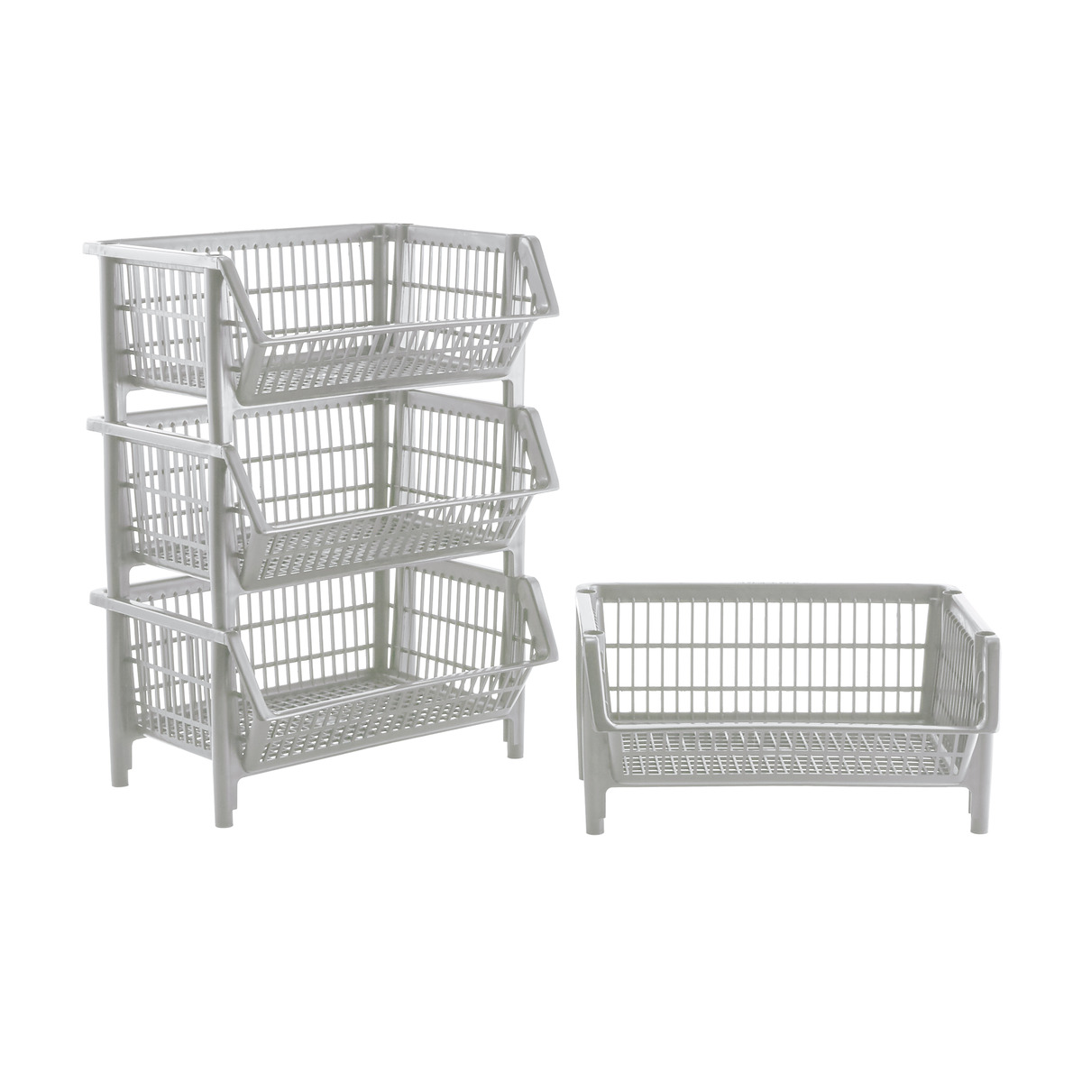 Our Light Grey Stackable Baskets Case of 4