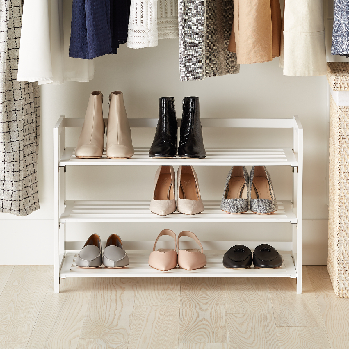 3-Tier White Folding Shoe Rack