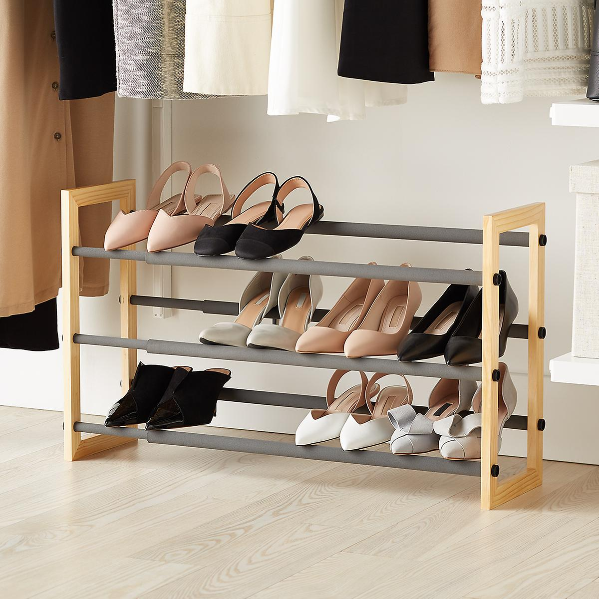 Natural 3-Tier Grippy Shoe Rack