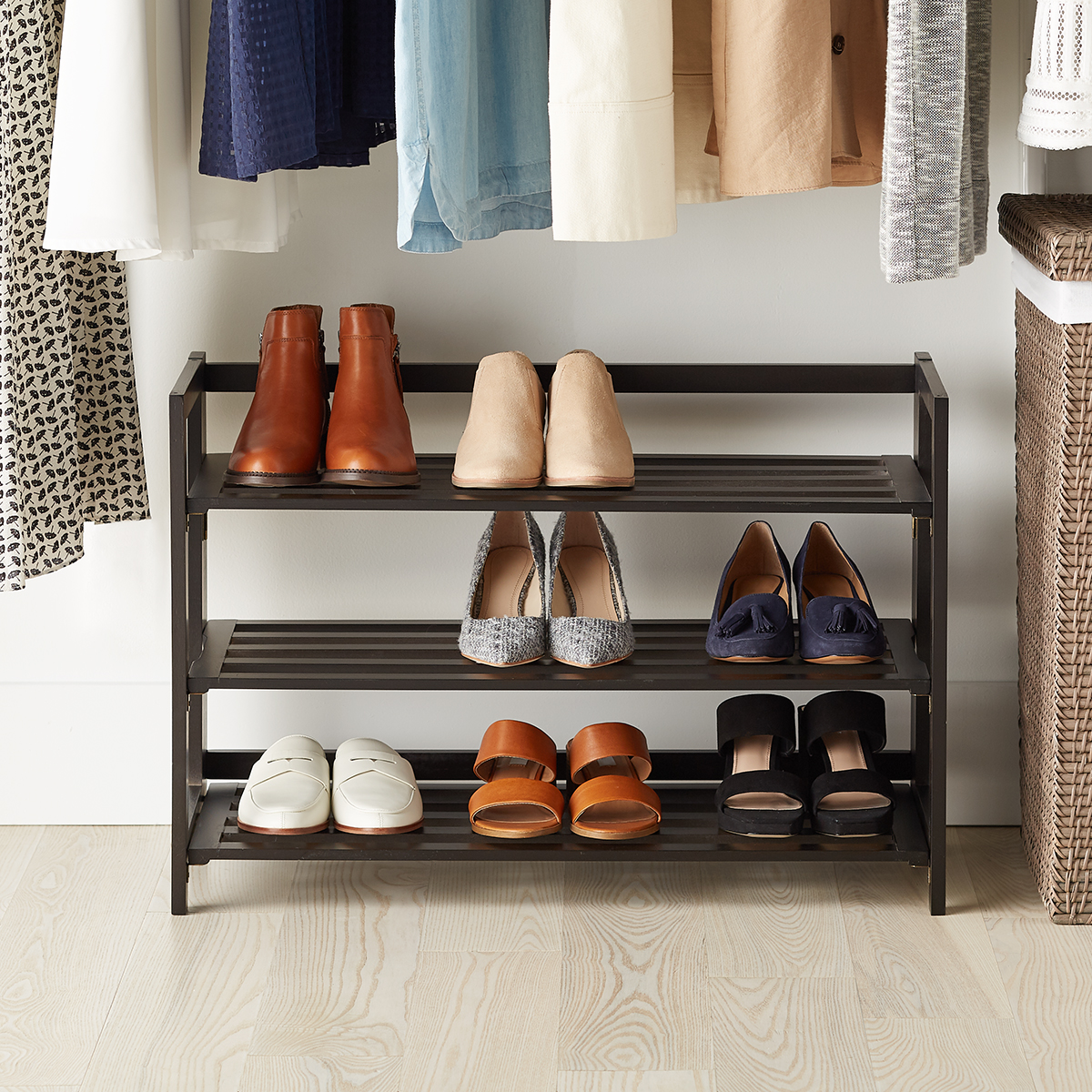 3-Tier Espresso Folding Shoe Rack