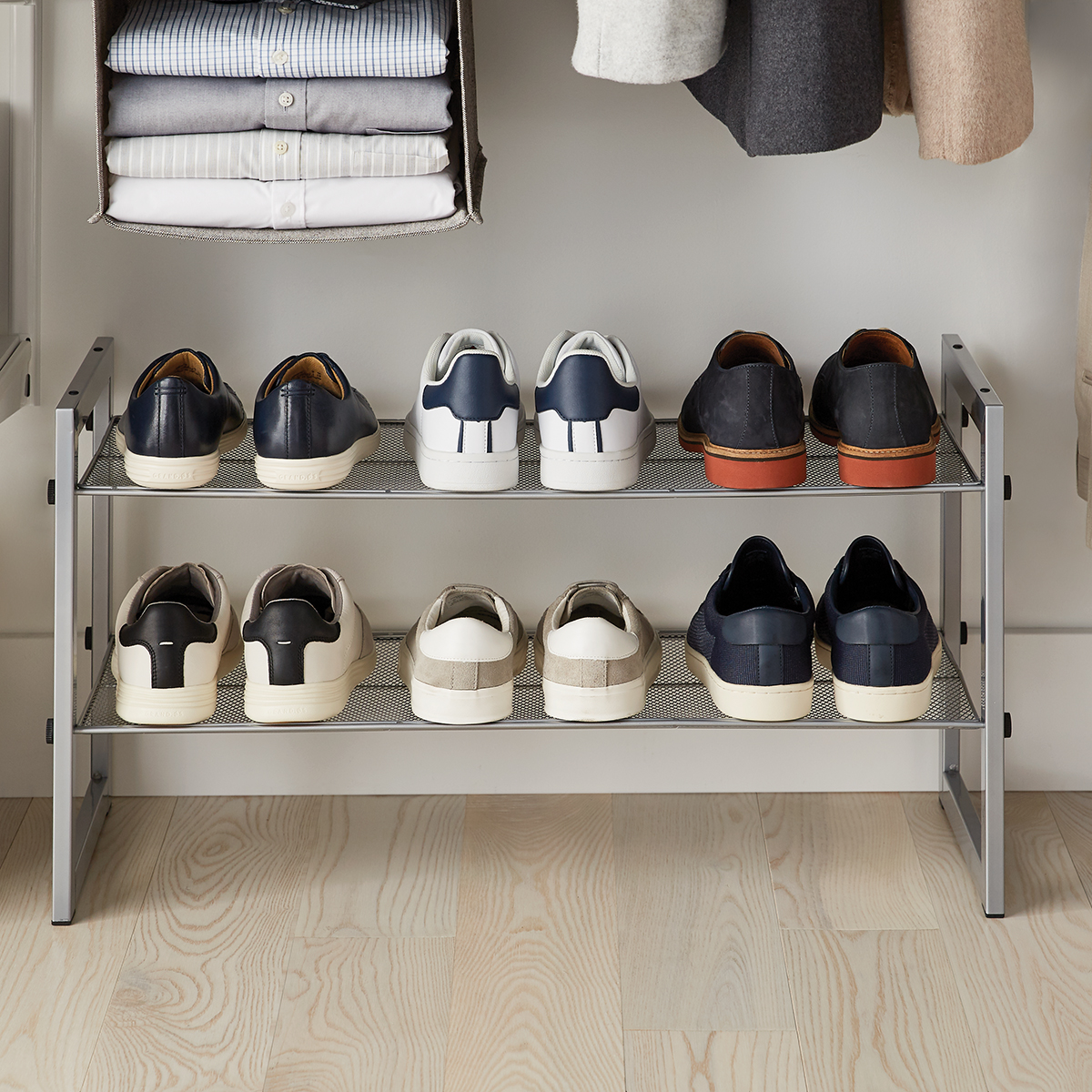 Platinum 2-Tier Stackable Mesh Shoe Shelf
