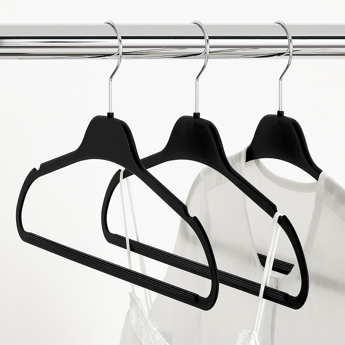 Black Non-Slip Rubberized Suit Hangers Case of 40
