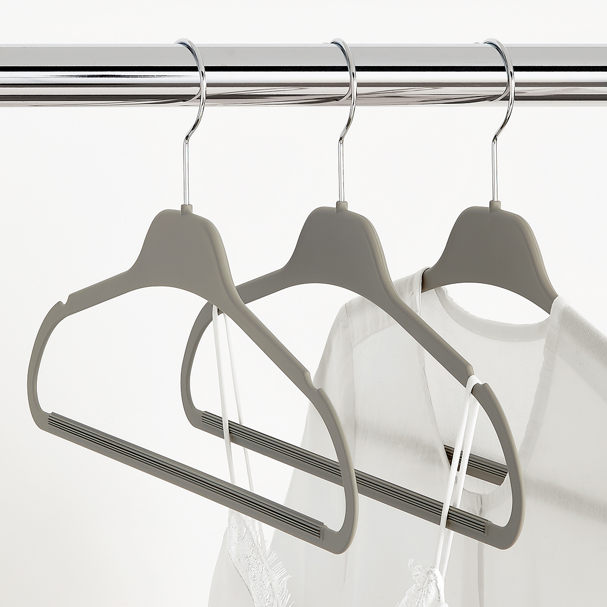 Grey Non-Slip Rubberized Suit Hangers Case of 40