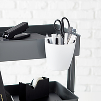 White 3-Tier Rolling Cart Hanging Organizer Cup