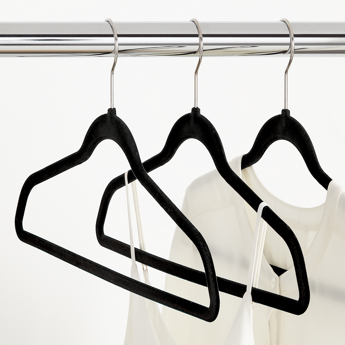 Black Premium Non-Slip Velvet Suit Hangers Case of 40