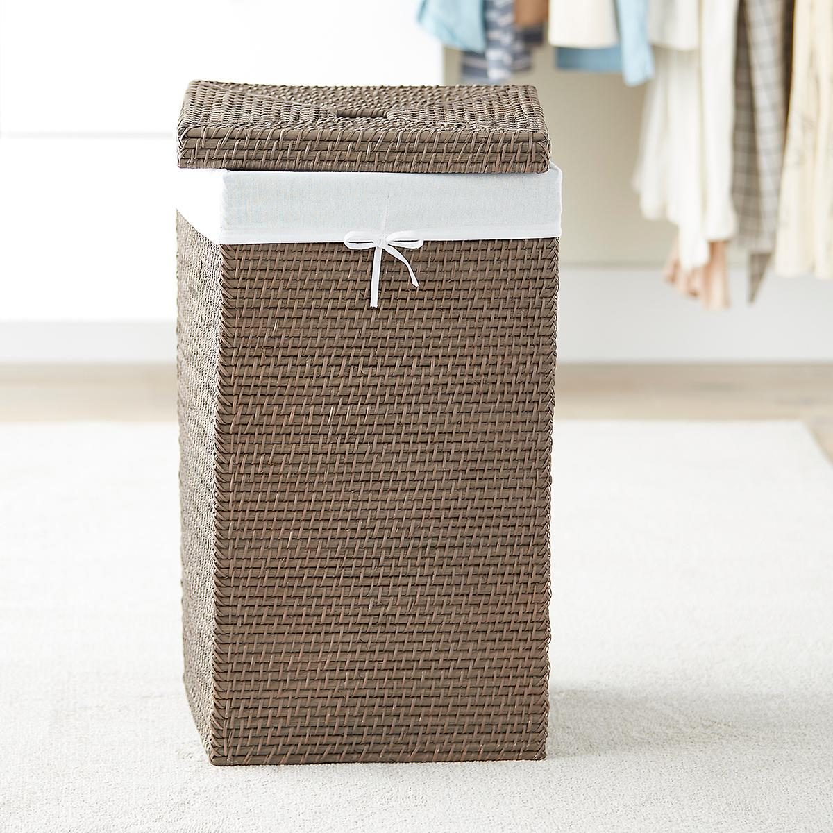 Grey Square Rattan Hamper