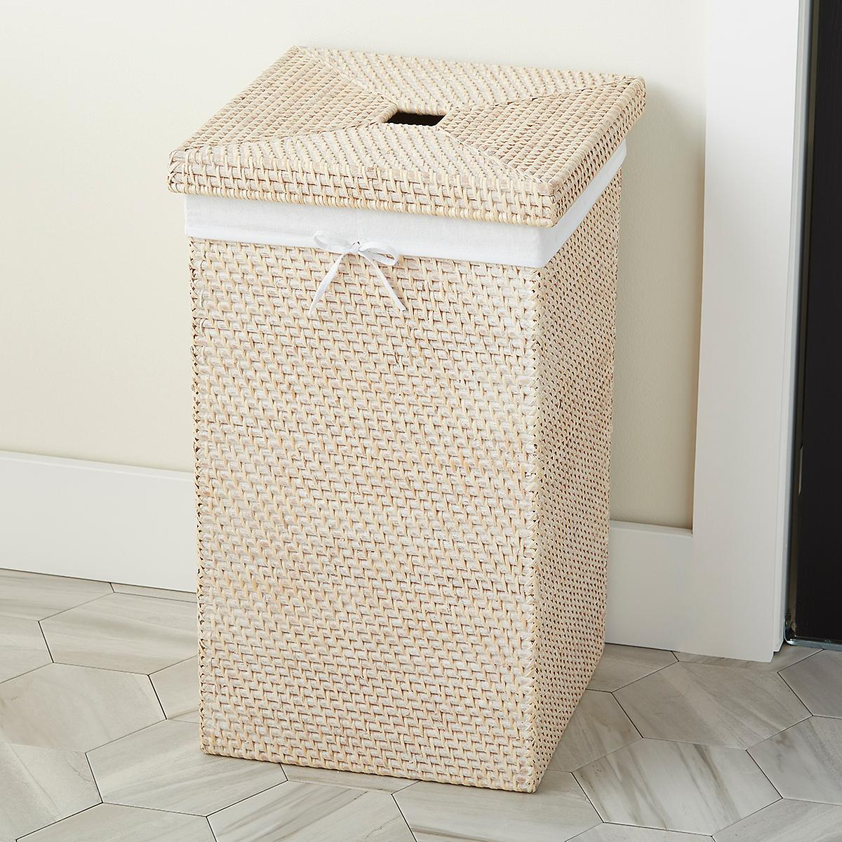 Whitewash Square Rattan Hamper