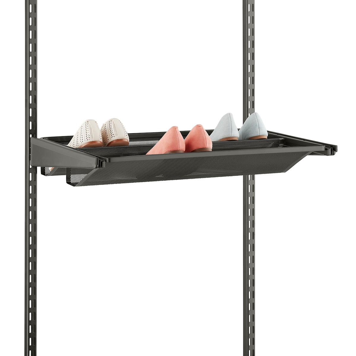 Graphite Elfa Gliding Mesh Shoe Shelves