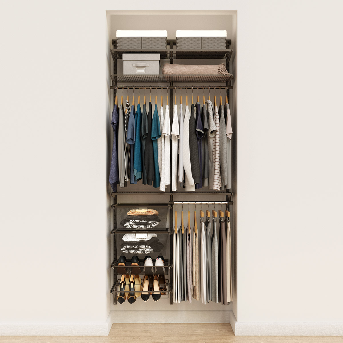 Elfa Classic 3' Graphite Reach-In Closet