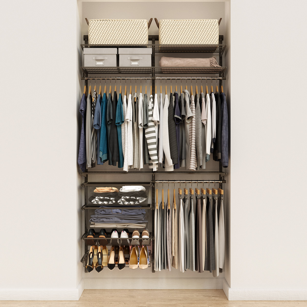 Elfa Classic 4' Graphite Reach-In Closet