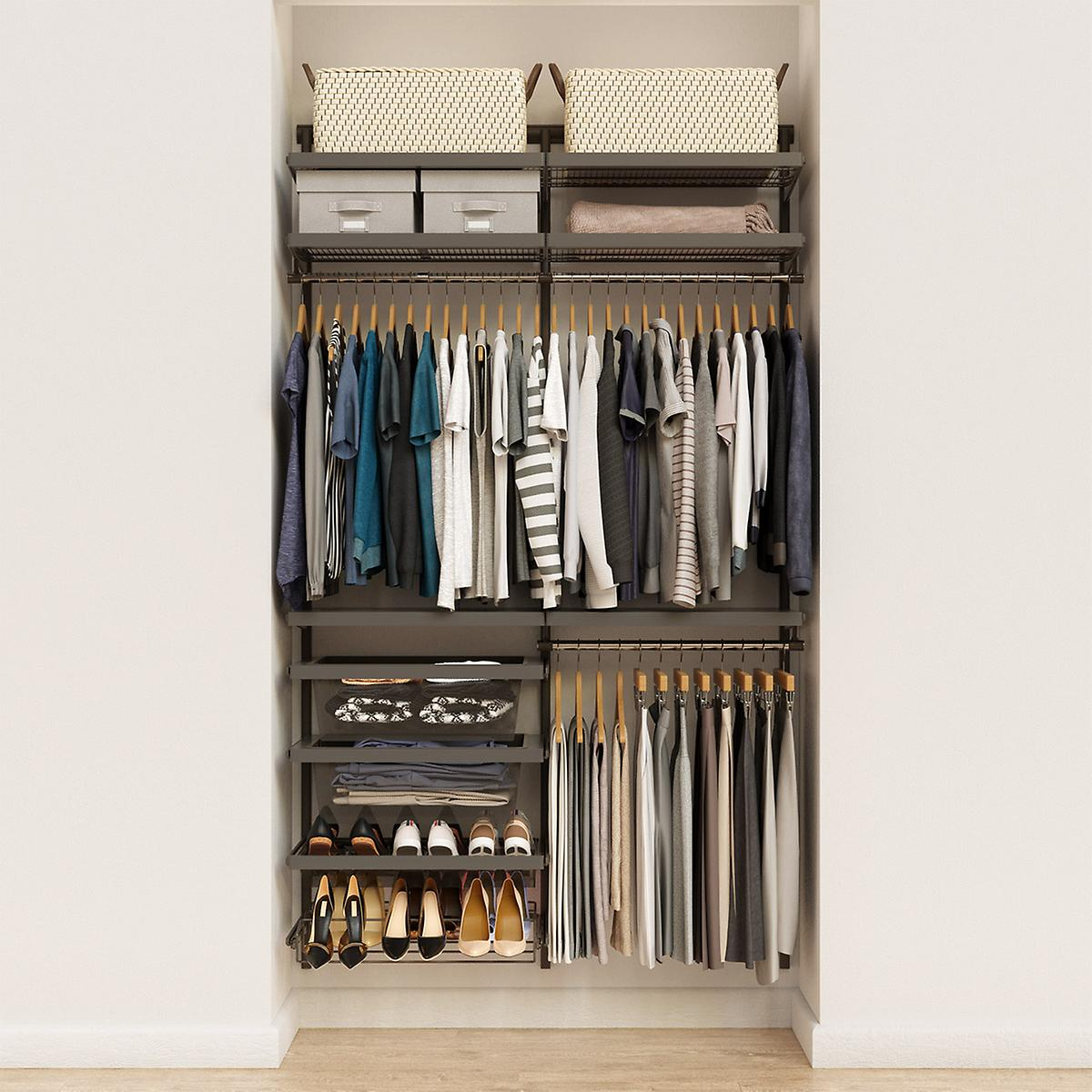 Elfa Decor 4' Graphite & Grey Reach-In Closet