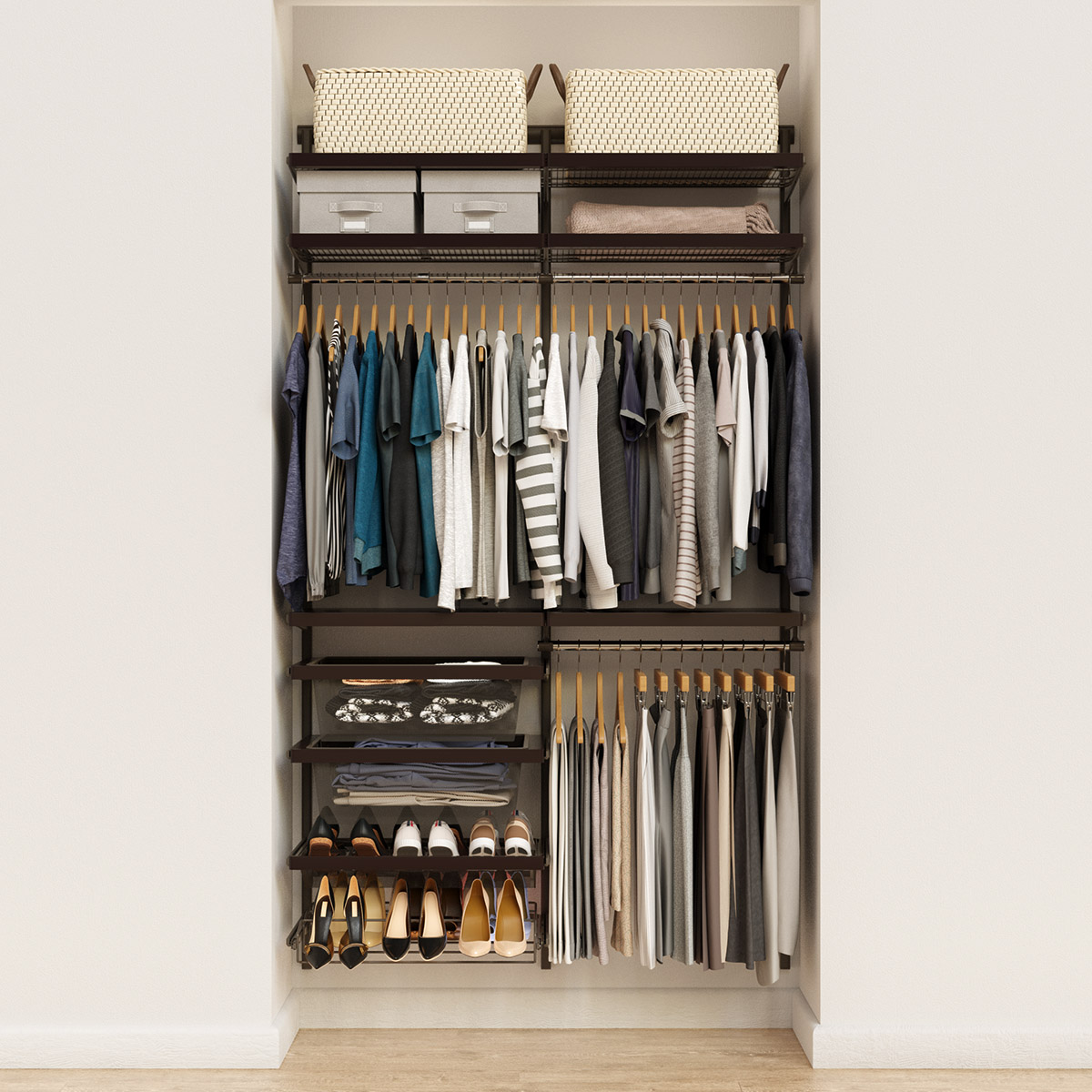 Elfa Decor 4' Graphite & Walnut Reach-In Closet