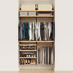 Elfa Decor 4' Graphite & Birch Reach-In Closet