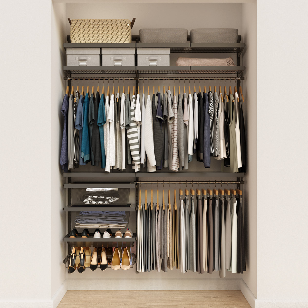 Elfa Decor 5' Graphite & Grey Reach-In Closet