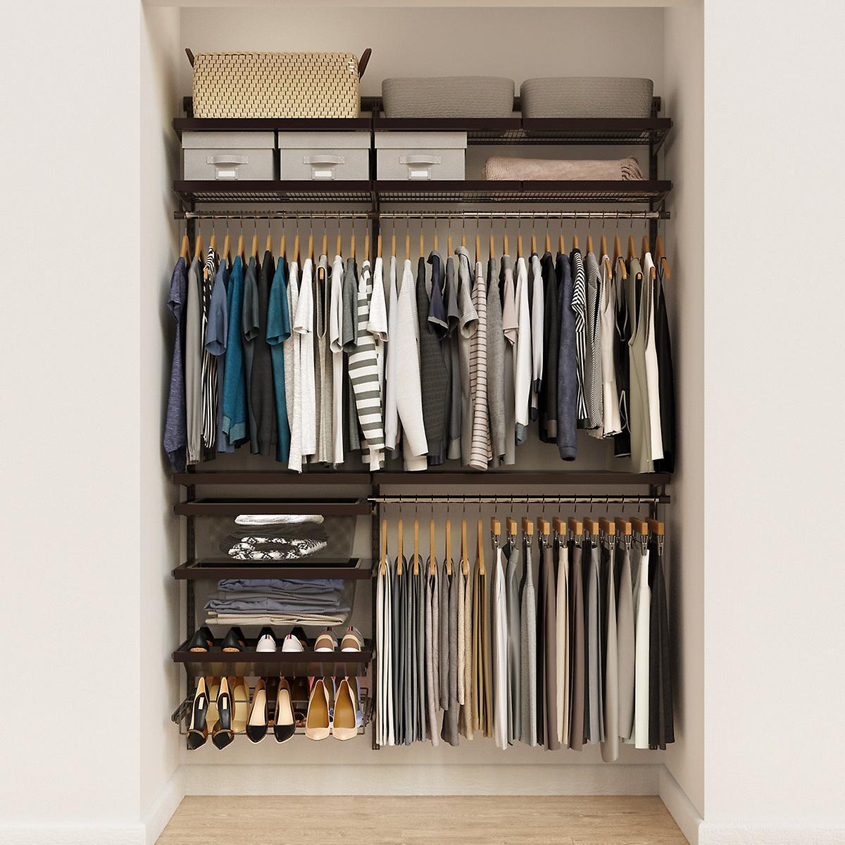 Elfa Decor 5' Graphite & Walnut Reach-In Closet