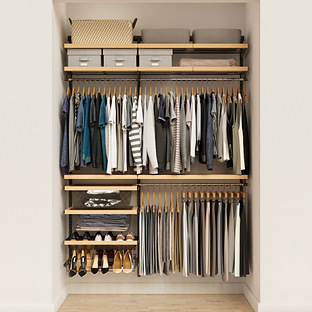 Elfa Decor 5' Graphite & Birch Reach-In Closet