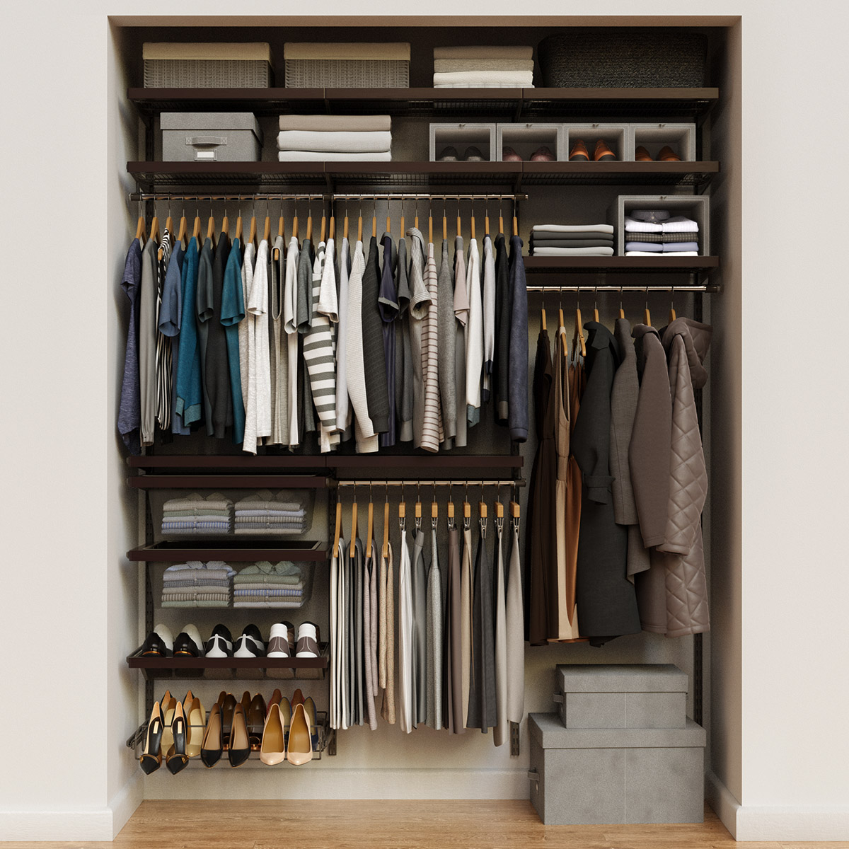 Elfa Decor 6' Graphite & Walnut Reach-In Closet