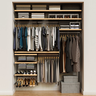 Elfa Decor 6' Graphite & Birch Reach-In Closet