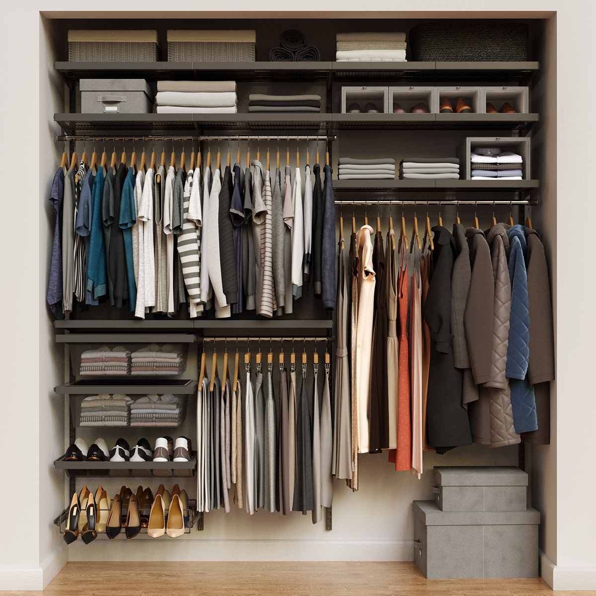 Elfa Décor 7' Graphite & Grey Reach-In Closet