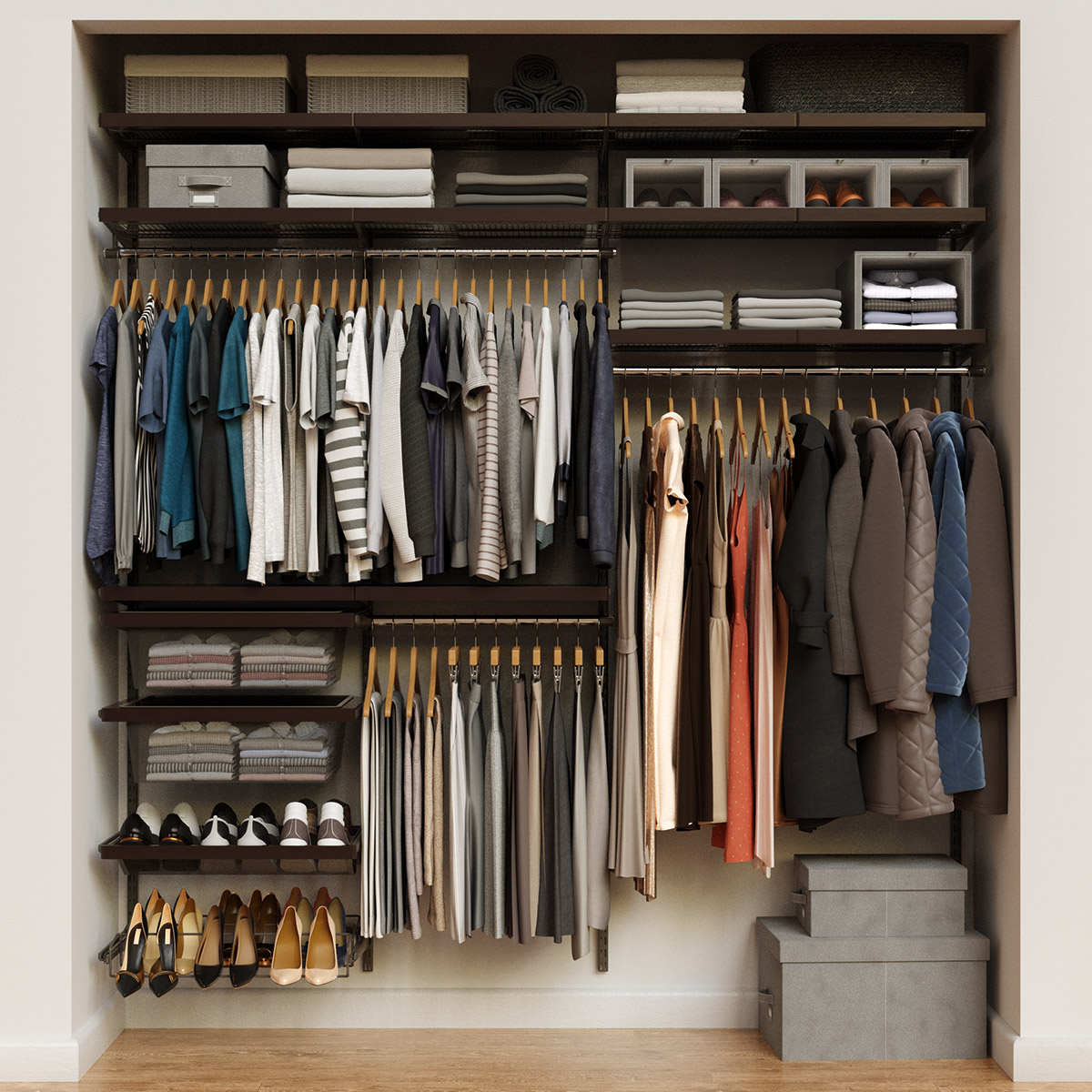Elfa Décor 7' Graphite & Walnut Reach-In Closet